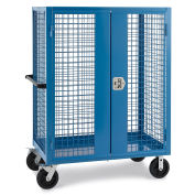 """Wire Security Truck, 48""""W x 24""""D x 60""""H, 8"""" Black Mold-on Rubber Casters, Blue"""