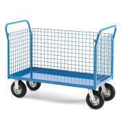 """All-Welded Platform Truck, 3 Sided Wire Panel, 60'Wx30""""D Deck, 8"""" Pneumatic Casters"""