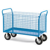 """All-Welded Platform Truck, 4 Sided Wire Panel, 60'Wx30""""D Deck, 8"""" Pneumatic Casters"""