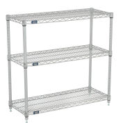 Nexel (3) Shelf Media Stand Silver Epoxy, 72 x 14