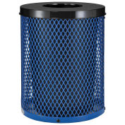 Thermoplastic Coated Mesh Receptacle w/Flat Lid, 32 Gallon, Blue