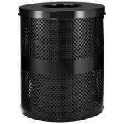 Thermoplastic Coated Perforated Receptacle w/Flat Lid, 32 Gallon, Black