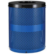 Thermoplastic Coated Perforated Receptacle w/Flat Lid, 32 Gallon, Blue