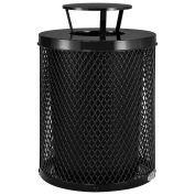 Thermoplastic Coated Mesh Receptacle w/Rain Bonnet Lid, 32 Gallon, Black