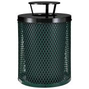 Thermoplastic Coated Mesh Receptacle w/Rain Bonnet Lid, 32 Gallon, Green