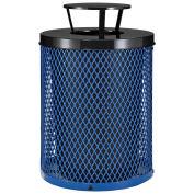 Thermoplastic Coated Mesh Receptacle w/Rain Bonnet Lid, 32 Gallon, Blue