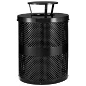 Thermoplastic Coated Perforated Receptacle w/Rain Bonnet Lid, 32 Gallon, Black