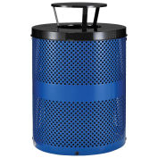 Thermoplastic Coated Perforated Receptacle w/Rain Bonnet Lid, 32 Gallon, Blue