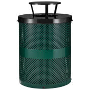 Thermoplastic Coated Perforated Receptacle w/Rain Bonnet Lid, 32 Gallon, Green