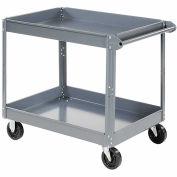 "2 Shelf Deep Tray Steel Stock Cart, 36""L x 24""W x 32""H, 600 Lb. Capacity"