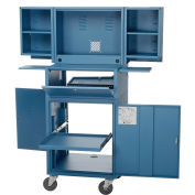 """Assembled Mobile Fold-Out Computer Security Cabinet, Blue, 24-1/2""""W x 22-1/2""""D x 61-1/2""""H"""