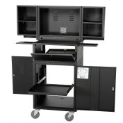 Fold Out Computer Security Cabinet, Mobile, Metal, Black, Assembled