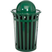 36 Gallon Outdoor Metal Slatted Trash Receptacle with Dome Lid, Green