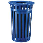 36 Gallon Outdoor Steel Recycling Receptacle w/Access Door & Flat Lid, Blue