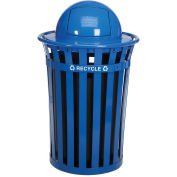 36 Gallon Outdoor Steel Recycling Receptacle with Dome Lid, Blue
