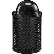 32 Gallon Thermoplastic Coated Mesh Receptacle w/Dome Lid, Black