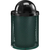 32 Gallon Thermoplastic Coated Mesh Receptacle w/Dome Lid, Green