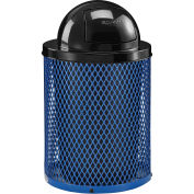 32 Gallon Thermoplastic Coated Mesh Receptacle w/Dome Lid, Blue