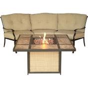 2-Piece Chat Set w/ Tile-Top Fire Pit, Natural Oat