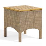 Torbay End Table, Antique Wicker, Teak Top