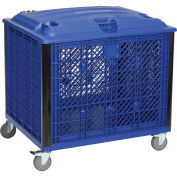 "Vented Wall Bulk Container with Lid and Casters, 39-1/4""L x 31-1/2""W x 29""H, Blue"