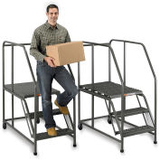 "EGA W003 Steel Mobile Work Platform 3-Step, No Handrail, 24"" W Perforated, Gray, 800 lb. Capacity"