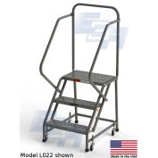 """EGA L004 Steel Industrial Rolling Ladder 3-Step, 16"""" Wide Perforated, Gray, 450 lb. Capacity"""