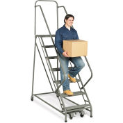 "EGA Z041 Steel EZY-Climb Ladder w/ Handrails 4-Step, 30"" Wide Perforated, Gray, 450 lb. Capacity"