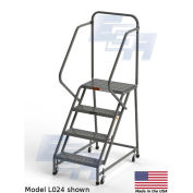 "EGA L042 Steel Industrial Rolling Ladder 4-Step, 30"" Wide Perforated, Gray, 450 lb. Capacity"