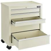 "Medical Bedside Cart, 5-Drawer, Key Lock, Beige, 24-1/2""L x 13-1/4""W x 29""H"