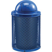 32 Gallon Thermoplastic Mesh Recycling Receptacle w/Dome Lid, Blue