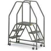 "EGA E002 Steel Double Entry Platform 3-Step, 16"" Wide Perforated, Gray, 300 lb. Capacity"