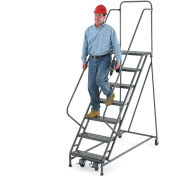 "EGA R107 Steel EZY-Climb Ladder w/ Handrails 8-Step, 24"" Wide Perforated, Gray, 450 lb. Capacity"