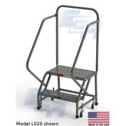 "EGA L020 Steel Industrial Rolling Ladder 2-Step, 24"" Wide Perforated, Gray, 450 lb. Capacity"