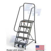 "EGA L034 Steel Industrial Rolling Ladder 5-Step, 24"" Wide Grip Strut, Gray, 450 lb. Capacity"