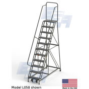 "EGA L058 Steel Industrial Rolling Ladder 11-Step, 24"" Wide Perforated, Gray, 450 lb. Capacity"