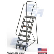 "EGA L027 Steel Industrial Rolling Ladder 7-Step, 24"" Wide Perforated, Gray, 450 lb. Capacity"