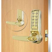 Codelocks Electronic Leverset, CL4210-PB, Key Override for Lighter Doors, Polished Brass