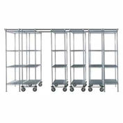 "6 Unit SPACE TRAC Storage Shelving, 14 Ft. Long, Poly-Z-Brite, 48""W x 21""D x 86""H"
