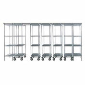 "7 Unit SPACE TRAC Storage Shelving, 14 Ft. Long, Chrome, 48""W x 18""D x 74""H"