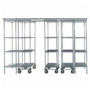 "5 Unit SPACE TRAC Storage Shelving, 14 Ft. Long, Chrome, 48""W x 24""D x 74""H"