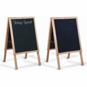 "Marsh 22""x 27"" Black Chalkboard, Blank CB Café Sidewalk Sign, Oak Wood Trim"