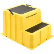 """2 Step Nestable Plastic Step Stand, 26""""W x 33""""D x 20""""H, Yellow"""