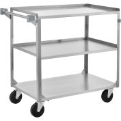 3 Shelf Stainless Steel Utility Cart, 27 x 16 x 32, 300 Lb Cap