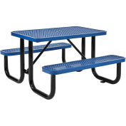 "4' Rectangular Expanded Metal Picnic Table, 48""L x 62""W,Blue"