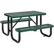 "4' Rectangular Expanded Metal Picnic Table, 48""L x 62""W, Green"