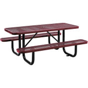 "6' Rectangular Expanded Metal Picnic Table, 72""L x 62""W, Red"