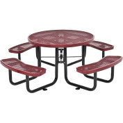 "46"" Round Expanded Metal Picnic Table, Red"