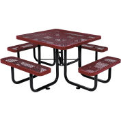 """46"""" Square Expanded Metal Picnic Table, Red"""