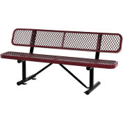 """72""""L  Expanded Metal Mesh Bench With Back Rest, Red"""